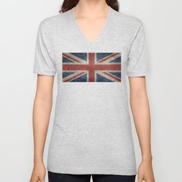 UK Flag, Dark grunge 1:2 scale Unisex V-Neck