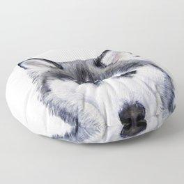 Siberian Husky original painting by Miart Floor Pillow