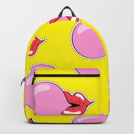 Old School Lips Pink Bubble Gum Chewing Gum Backpack