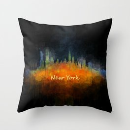New York City Skyline Hq V04 Throw Pillow