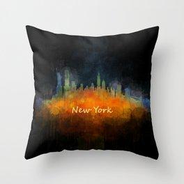 New York City Skyline Hq V04 Throw Pillow