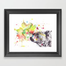 Portrait Of a Grizzly Brown Bear Framed Art Print