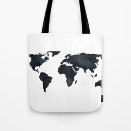 World Map Black Watercolor Ink Tote Bag