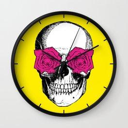 Skull and Roses   Yellow and Pink Wall Clock