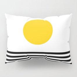Midcentury Yellow Minimalist Sunset With Black Stripes Pillow Sham