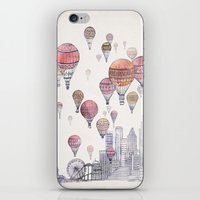 santa monica iPhone & iPod Skins featuring Voyages Over Santa Monica by David Fleck
