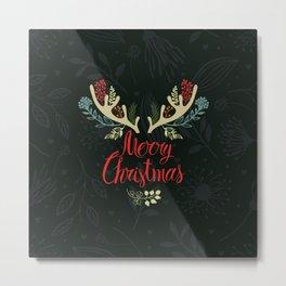 Green Deer horn Christmas Event Design Metal Print