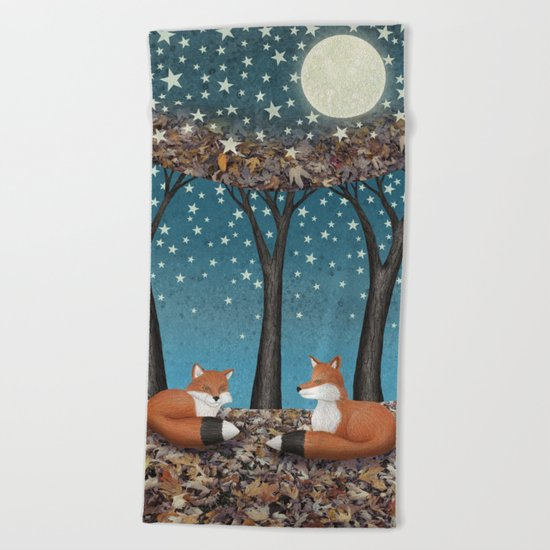 starlit foxes Beach Towel