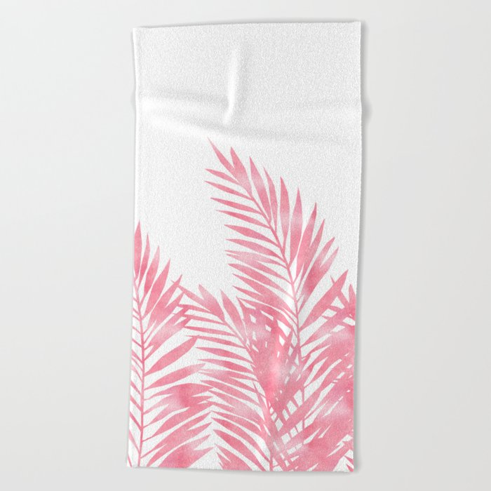 Palm Leaves Pink Beach Towel