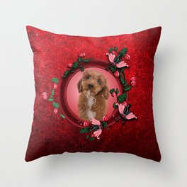 Cute little cockapoo puppy Throw Pillow