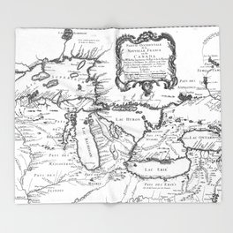 Vintage Map of The Great Lakes (1755) BW Throw Blanket
