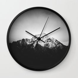 Black and white snowy mountain Wall Clock