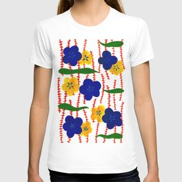 Blue and Yellow Floral Patterns T-shirt
