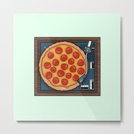 Pizza Record Player Metal Print