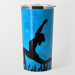 Yoga Moon Posture - Blue Travel Mug