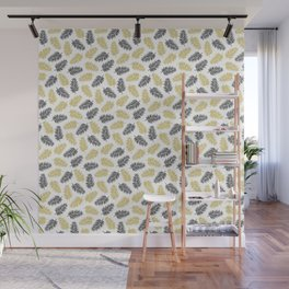 Fern Pattern - black and gold Wall Mural