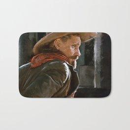Old Western Outlaw Cowboy Preparing To Draw His Gun Bath Mat