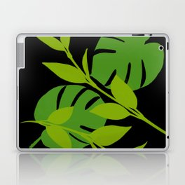 Simply Tropical Leaves with Black Background Laptop & iPad Skin