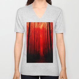 Misty Red Forest Unisex V-Neck