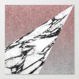 Silver Rose Gold Glitter and Marble Geometric Pattern Canvas Print