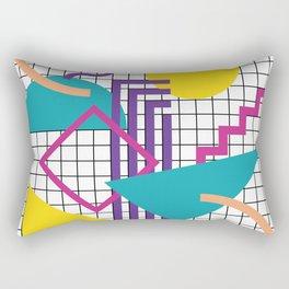 Memphis Pattern - 80s Retro White Rectangular Pillow