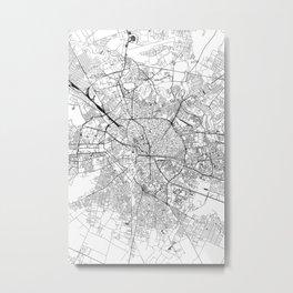 Bucharest White Map Metal Print