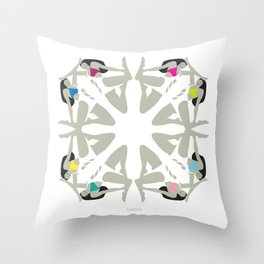 Weekend Girls Repeat Illustration Throw Pillow