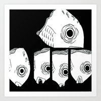 talking heads Art Prints featuring Talking (Fish) Heads by Drsyen
