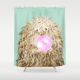 Puli Dog with Bubble Gum in Green Shower Curtain