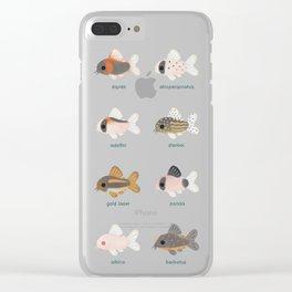 Corydoras! - black Clear iPhone Case