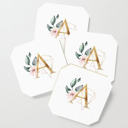Geometric Floral Gold Letter A Coaster