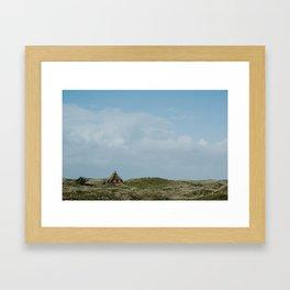 Red Beach House Framed Art Print