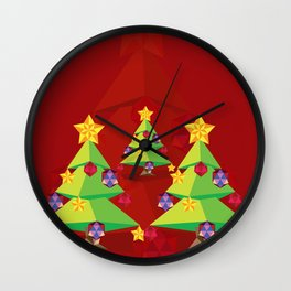 Polygonal green Christmas tree Wall Clock