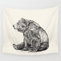 cute Wall Tapestries featuring Bear // Graphite by Sandra Dieckmann
