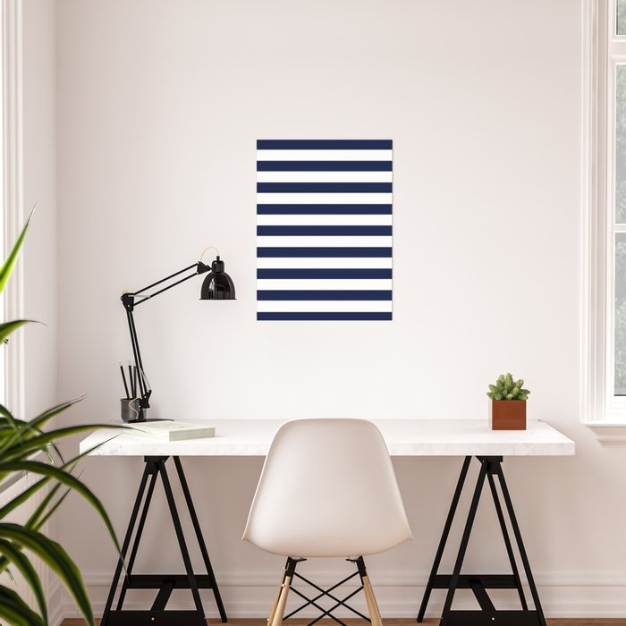 Nautical Navy Blue and White Stripes Poster