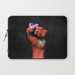 Bermuda Flag on a Raised Clenched Fist Laptop Sleeve
