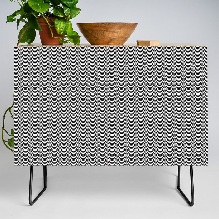 Black and White Scallop Line Pattern Digital Graphic Design Credenza