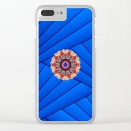 Monserrat Diamond Mandala With Blue Ribbon Backdrop Clear iPhone Case