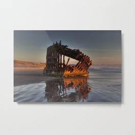 Shipwreck at Sunset Metal Print