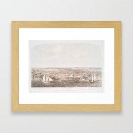 Vintage Pictorial Map of New Bern NC (1864) Framed Art Print