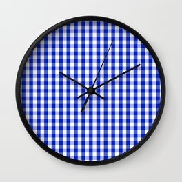 Cobalt Blue and White Gingham Check Plaid Squared Pattern Wall Clock