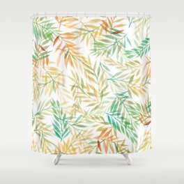 Watercolour Ferns | Mint and Coral Shower Curtain