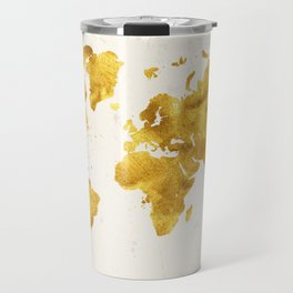 24 Karat World, faux gold world map Travel Mug