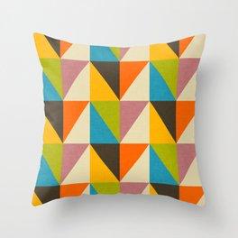 Retro Color Block Chevron Color Fun Throw Pillow