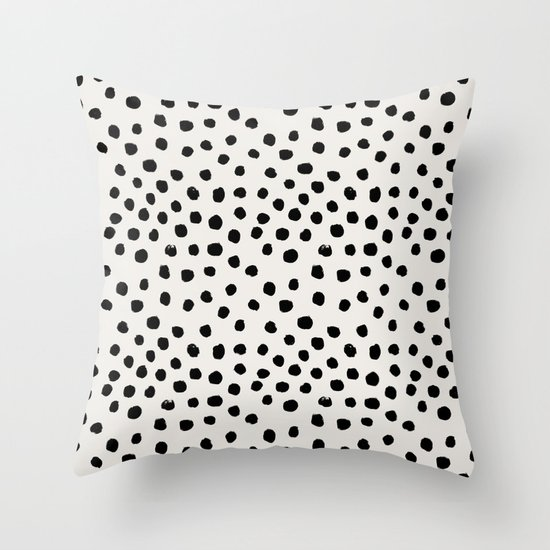 Preppy Brushstroke Free Polka Dots Black And White Spots Dots Dalmation  Animal Spots Design Minimal Throw Pillow By Charlottewinter | Society6
