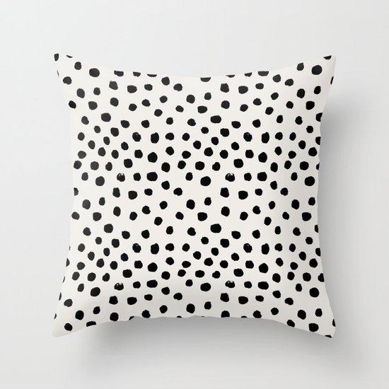 preppy brushstroke free polka dots black and white spots dots dalmation animal spots design minimal throw pillow by society6