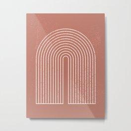 Abstract Geometric Nesting Lines Rainbow Boho Mid century Modern Minimalist Organic Shape Pastel Earth Tones Peach Pink Colors Metal Print
