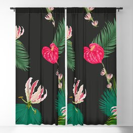 Hand Drawn Anthurium and Tropical Pink Flowers With Palm Leaves Pattern Blackout Curtain