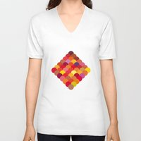 scales V-neck T-shirts featuring Red Scales by Lea.I