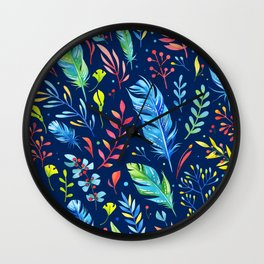 Feathers Pattern 02 Wall Clock